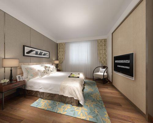 中式风格三居室卧室飘窗装修效果图大全