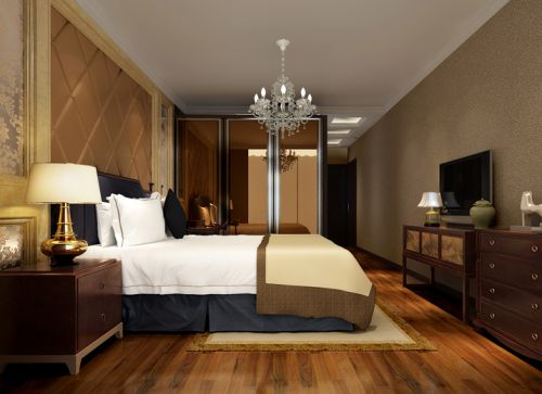 中式风格四居室卧室吊顶装修效果图