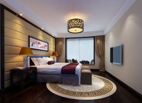 中式风格三居室卧室窗帘装修效果图
