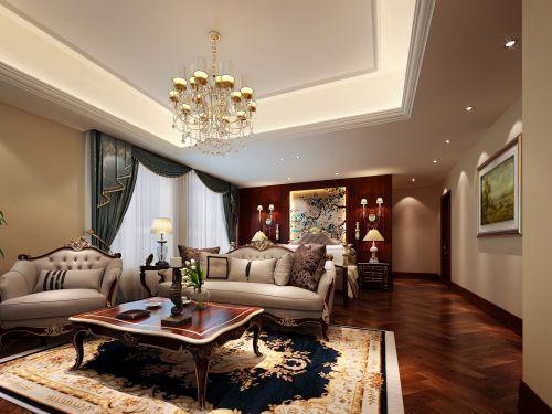 中式古典六居室以上卧室背景墙装修图片