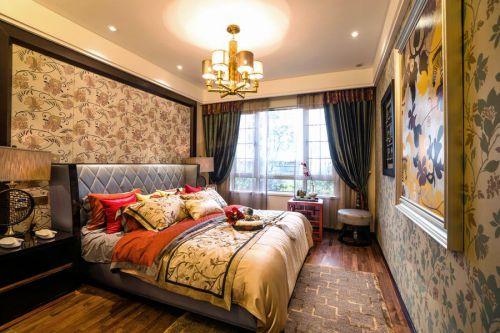 中式古典四居室卧室飘窗装修图片