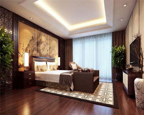 中式风格二居室卧室吊顶装修效果图大全