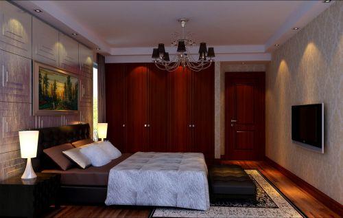 中式风格四居室卧室背景墙装修效果图