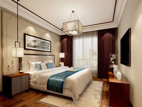 中式风格二居室卧室背景墙装修效果图