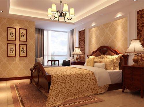 中式古典三居室卧室背景墙装修效果图大全