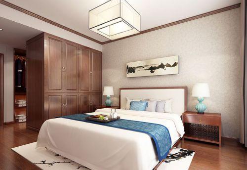 中式风格二居室卧室背景墙装修效果图欣赏