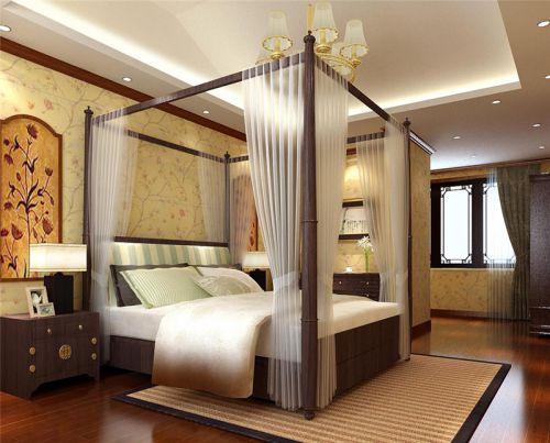 中式风格四居室卧室吊顶装修效果图欣赏