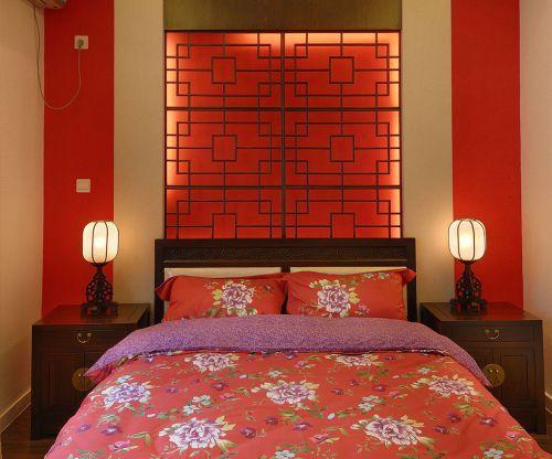 中式风格二居室卧室床头柜装修效果图大全