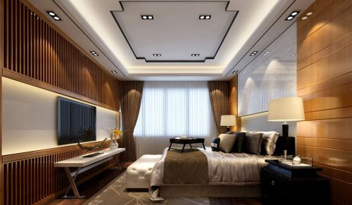 中式风格三居室卧室吊顶装修效果图大全