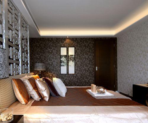 中式古典三居室卧室背景墙装修效果图