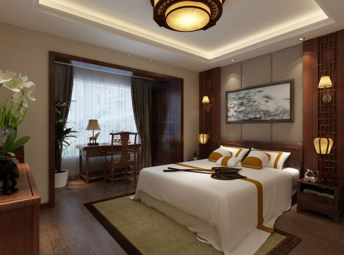 中式古典别墅卧室灯具装修图片