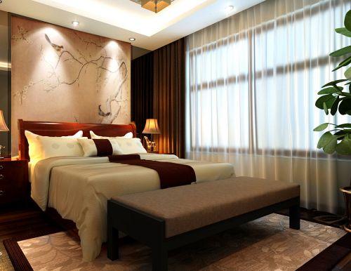 中式风格四居室卧室床头柜装修效果图大全
