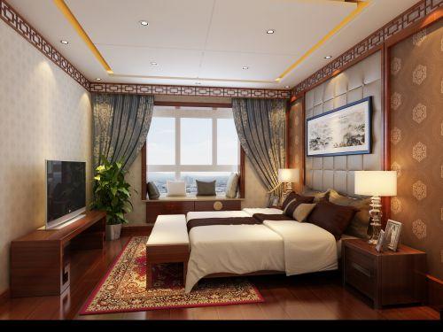 中式风格二居室卧室背景墙装修效果图大全