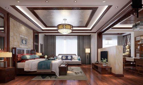 中式古典五居室卧室背景墙装修效果图
