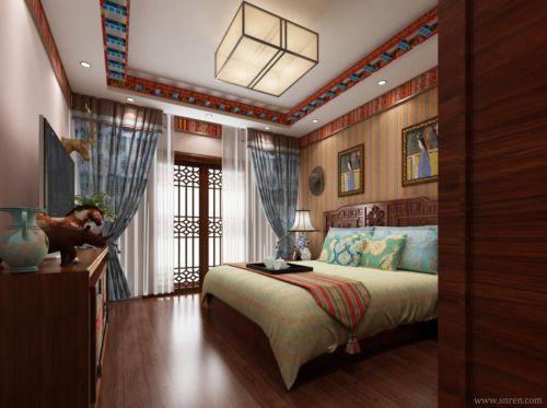 中式古典二居室卧室窗帘装修效果图大全