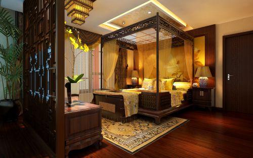 中式风格五居室卧室背景墙装修效果图