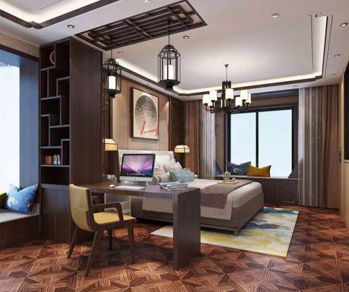 中式风格五居室卧室飘窗装修效果图欣赏