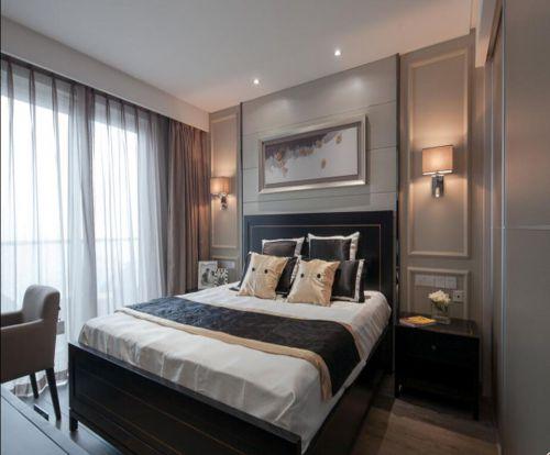 中式风格四居室卧室背景墙装修图片