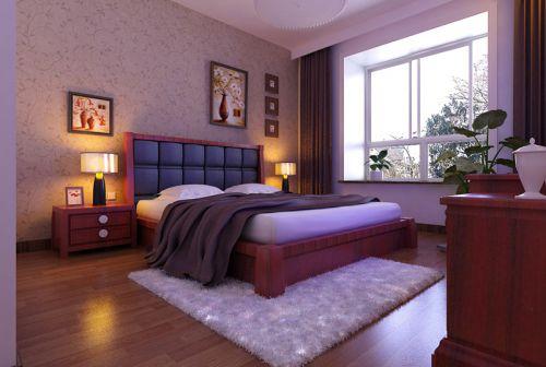 中式风格三居室卧室床装修效果图大全