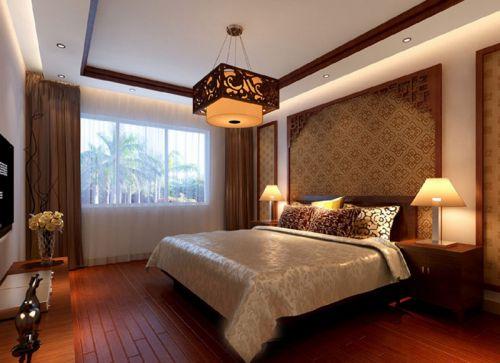 中式风格三居室卧室床头柜装修图片