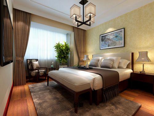 中式风格三居室卧室灯具装修图片
