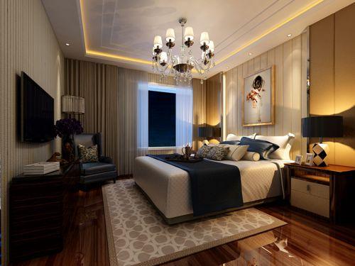 中式风格三居室卧室壁纸装修效果图大全