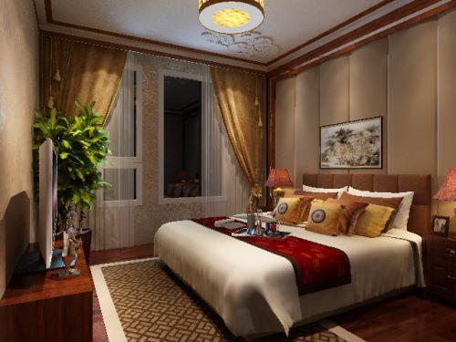 中式古典四居室卧室背景墙装修效果图大全