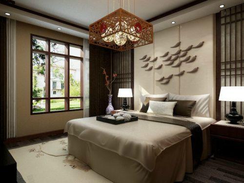 中式古典三居室卧室吊顶装修效果图大全