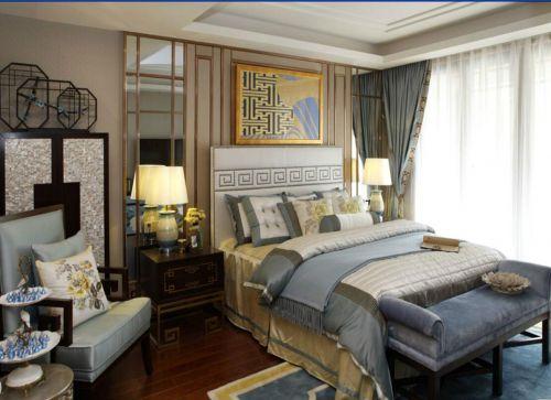中式古典三居室卧室飘窗装修效果图大全