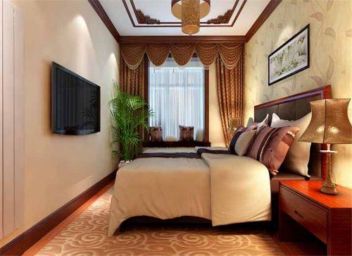 中式古典三居室卧室吊顶装修效果图