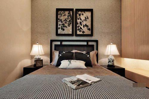 中式风格三居室卧室照片墙装修效果图