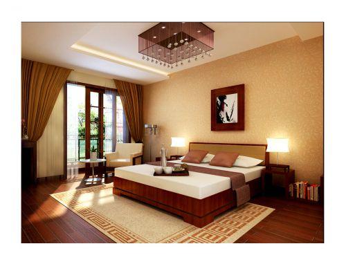 中式风格四居室卧室窗帘装修效果图欣赏
