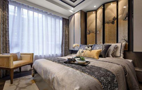 素雅中式风格卧室床铺装修效果图