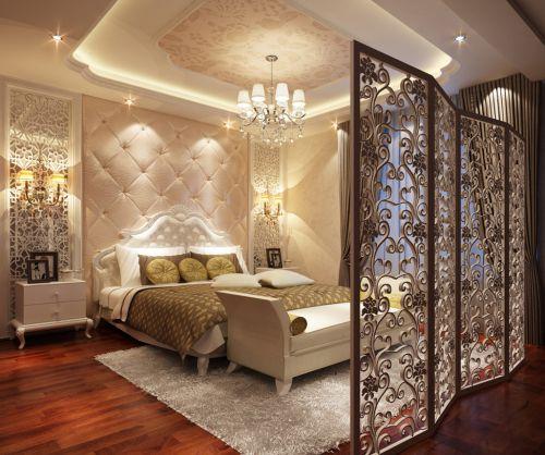 经典欧式风两居室卧室屏风效果图