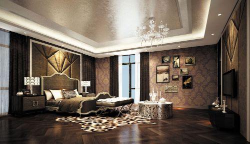别墅卧室欧式复古深灰色大床装修效果图