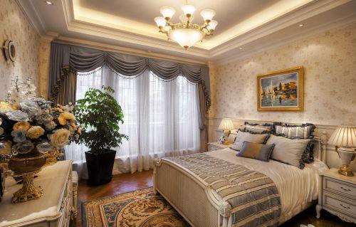 三居室欧式精美黄色卧室吊灯灯具效果图