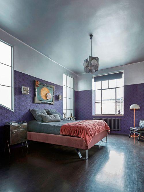 优雅欧式风格浪漫紫色卧室装修图片