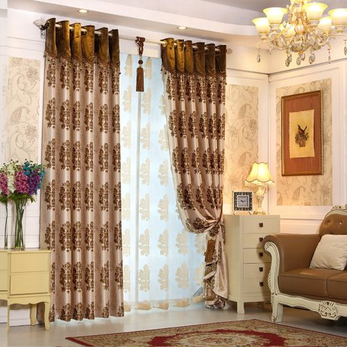 咖啡色欧式古典卧室窗帘效果图