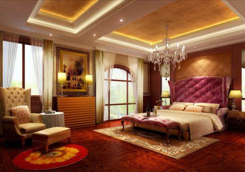欧式风格四居室卧室背景墙装修效果图