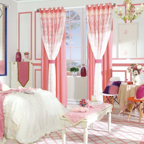 粉色双层网纱欧式卧室落地窗帘效果图