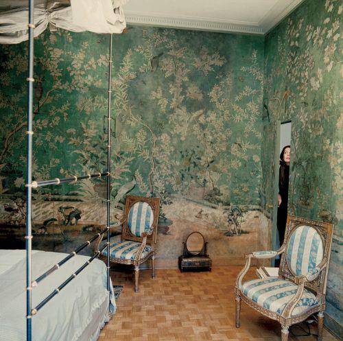 美式绿色卧室背景墙效果图