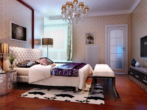 欧式风格二居室卧室背景墙装修效果图