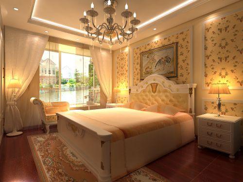 欧式古典风格三居室卧室装修效果图