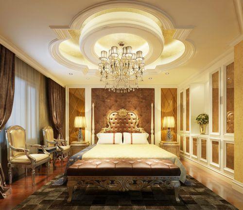 欧式古典三居室卧室吊顶装修效果图