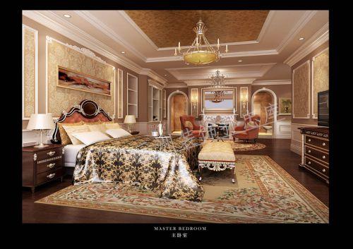 欧式奢华别墅卧室隔断装修效果图