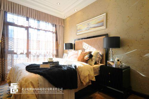 欧式新奢华三居室卧室背景墙装修效果图