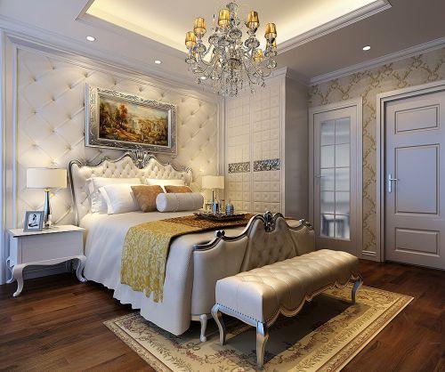 时尚奢华欧式风格宽敞卧室床装修效果图