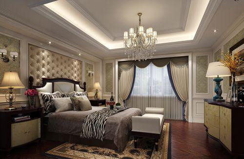 欧式风格三居室卧室窗帘床装修效果图