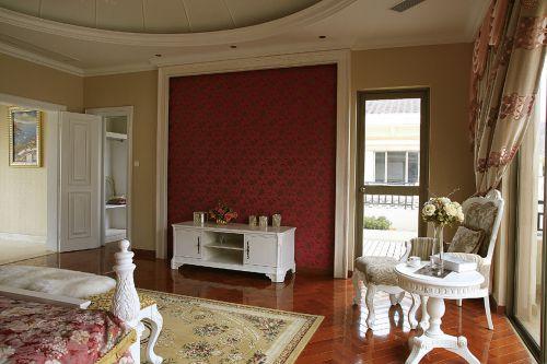 欧式风格橙色卧室背景墙装修效果图