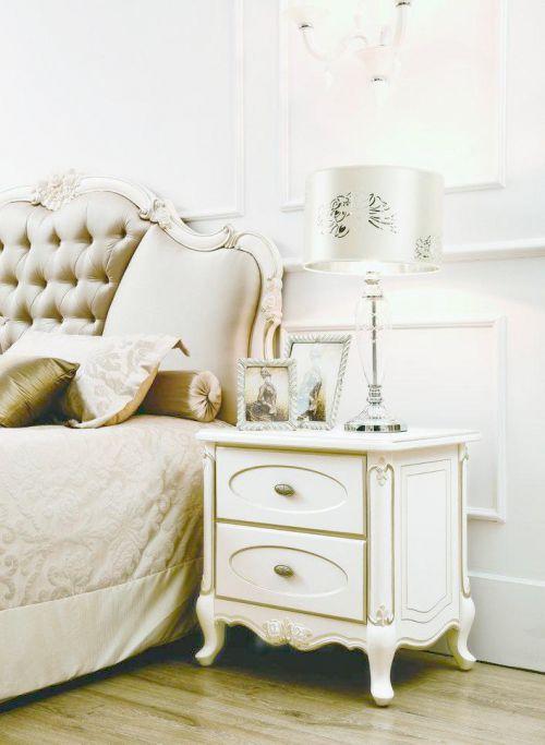 欧式风格二居室白色卧室床头柜效果图